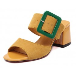 Camel Yellow Green Peep Toe Big Buckle Big Block Heels Sandals Shoes