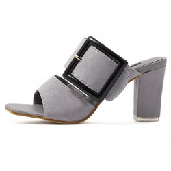 Grey Suede Peep Toe Big Buckle Big Block Heels Sandals Shoes