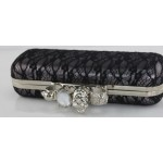 Black Pink Silver Lace Diamante Gemstones Skulls Ring Evening Clutch Purse Jewelry Box