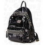 Black Sequins Glittering  Metal Studs Gothic Punk Rock Backpack
