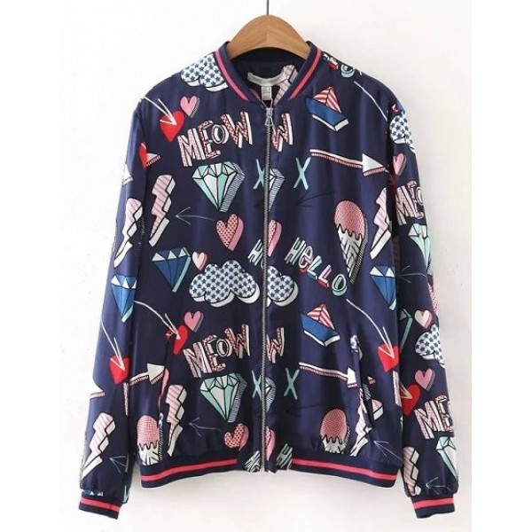 Blue Meow Diamonds Hearts Cartoon Baseball Aviator Bomber Rider Jacket