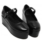 Black Patent Leather Platforms Punk Rock Lolita Creepers Mary Jane Flats Shoes
