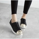 Black Gold Metallic Shiny Leather Lace Up Shoes Womens Sneakers