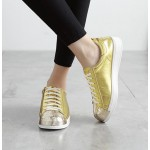 Gold Metallic Shiny Leather Lace Up Shoes Womens Sneakers