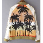 Orange Palm Coconut Trees Shadow Baseball Aviator Bomber Rider Jacket