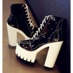 Black Transparent Lace Up Chunky Sole Block High Heels Platforms Boots Shoes