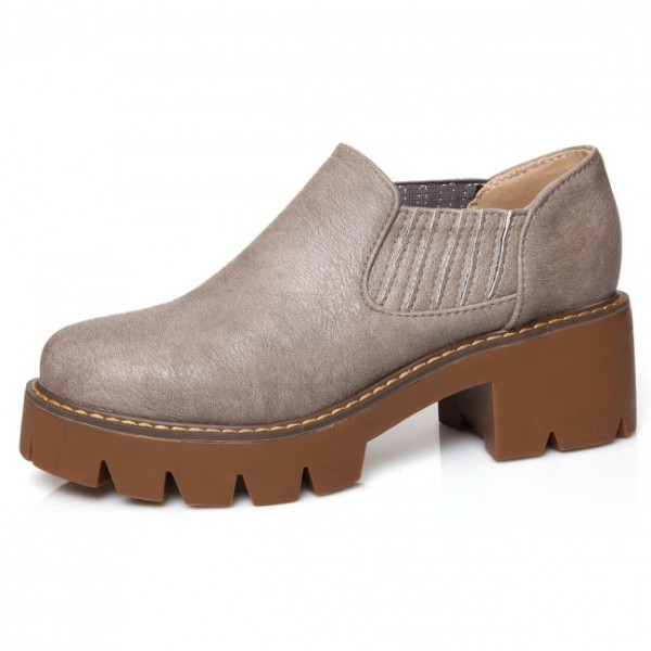 Grey Platforms Chunky Block Heels Sole Slip On Flats Loafers Shones