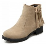 Khaki Suede Back Fringes Punk Rock Ankle Chelsea Boots Shoes