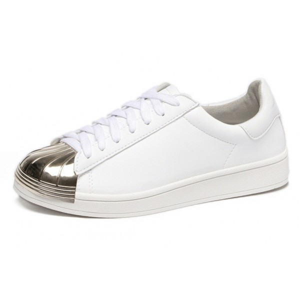White Gold Leather Lace Up Shoes Womens Sneakers