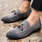 Grey Suede Tassel Spikes Mens Loafers Flats Dress Shoes