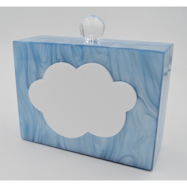 Blue Pink Today is Cloudy Cloud Acrylic Rectangular Evening Clutch Purse Jewelry Box