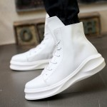 White Lace Up Thick Sole High Top Lace Up Punk Rock Sneakers Mens BootsShoes