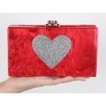 Red Silver Glitter Heart Arcylic Evening Clutch Bag Purse Jewelry Box