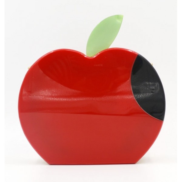 Red Apple Arcylic Evening Clutch Bag Purse Jewelry Box