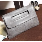 Grey Vintage Gothic Punk Rock Oversized Envelope Clutch Bag Purse