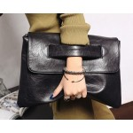 Black Vintage Gothic Punk Rock Oversized Envelope Clutch Bag Purse