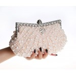 White Pink Black Pearls Diamante Bridal Fancy Glamorous Evening Clutch Purse