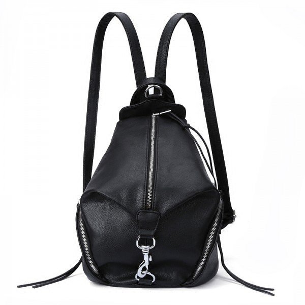 Black Silver Lock Middle Zipper Funky Gothic Punk Rock Backpack