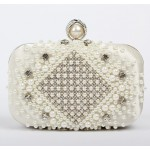 White Gold Pearls Diamante Rectangular Fancy Evening Clutch Bag Purse Box