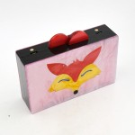 Pink Fox Cartoon Acrylic Rectangular Evening Clutch Purse Jewelry Box