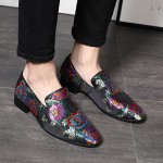 Black Rainbow Satin Embroidered Purple Dapper Man Oxfords Loafers Dress Shoes Flats