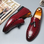 Burgundy Red Stitches Tassels Dapper Man Oxfords Loafers Dress Shoes Flats
