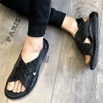 Black Knitted Leather Crisscross Thick Sole Fashion Mens Gladiator Roman Sandals