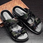 Black Camouflage Double Strap Flip Flops Flats Fashion Mens Gladiator Roman Sandals