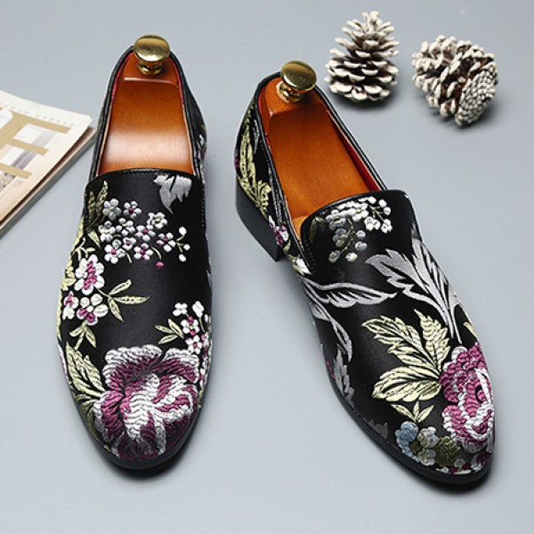 Black Satin Embroidered Purple Flowers Dapper Man Oxfords Loafers Dress Shoes Flats
