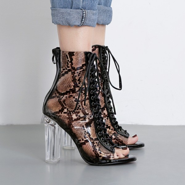Black Transparent Snake Print PU Peep Toe Lace Up Block High Heels Boots Shoes