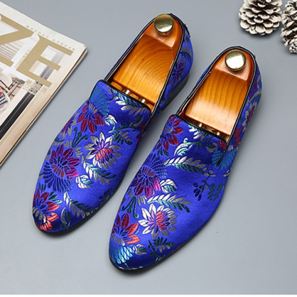 Blue Royal Satin Embroidered Purple Flowers Dapper Man Oxfords Loafers Dress Shoes Flats