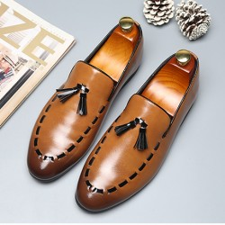 Brown Stitches Tassels Dapper Man Oxfords Loafers Dress Shoes Flats