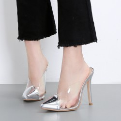 Silver Metallic Bridal Transparent Pointed Head Stiletto High Heels Sandals Shoes