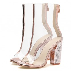 Transparent Gold PU Peep Toe Block High Heels Boots Shoes