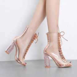 Transparent Gold PU Peep Toe Lace Up Block High Heels Boots Shoes