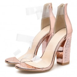 Transparent Gold PU Sexy Block High Heels Sandals Shoes