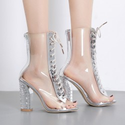 Transparent Silver PU Peep Toe Lace Up Block High Heels Boots Shoes
