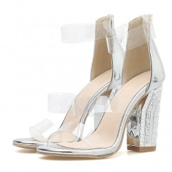 Transparent Silver PU Sexy Block High Heels Sandals Shoes