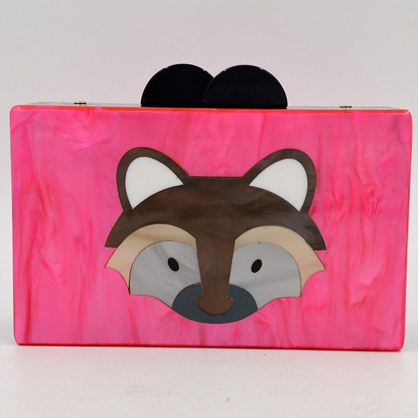 Pink Fox Chipmunk Acrylic Rectangular Evening Clutch Purse Jewelry Box