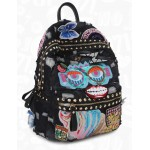 Blue Black Denim Jeans Sequins Embroidery Applique Metal Studs Gothic Punk Rock Backpack