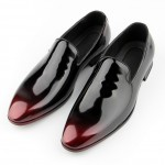 Black Burgundy Lace Up Glossy Patent Leather Loafers Flats Dress Oxfords Shoes