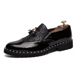 Black Glittering Bling Bling Tassels Glossy Patent Leather Loafers Flats Dress Shoes