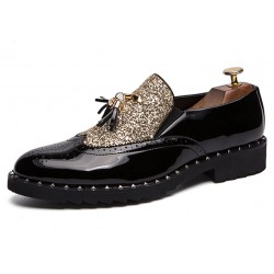 Black Gold Glittering Bling Bling Tassels Glossy Patent Leather Loafers Flats Dress Shoes