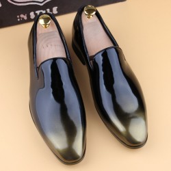 Black Gold Patent Glossy Patent Leather Loafers Flats Dress Dapperman Shoes