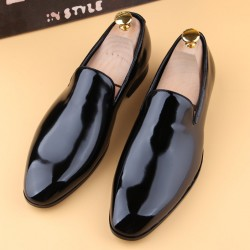 Black Patent Glossy Patent Leather Loafers Flats Dress Dapperman Shoes
