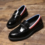 Black Patent Metal Chain Glossy Patent Leather Loafers Flats Dress Shoes