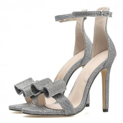 Silver Bow Diamantes Bling Bling Bridal Wedding Sandals High Heels Stiletto Shoes