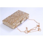 Gold Silver Black Diamante Bling Bling Glitter Rectangluar Evening Clutch Purse Jewelry Box