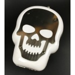 White Bronze Metal Skull Punk Rock Gothic Evening Clutch Purse Jewelry Box
