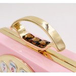 Pink Vintage Ring Phone Arcylic Evening Clutch Bag Purse Jewelry Box